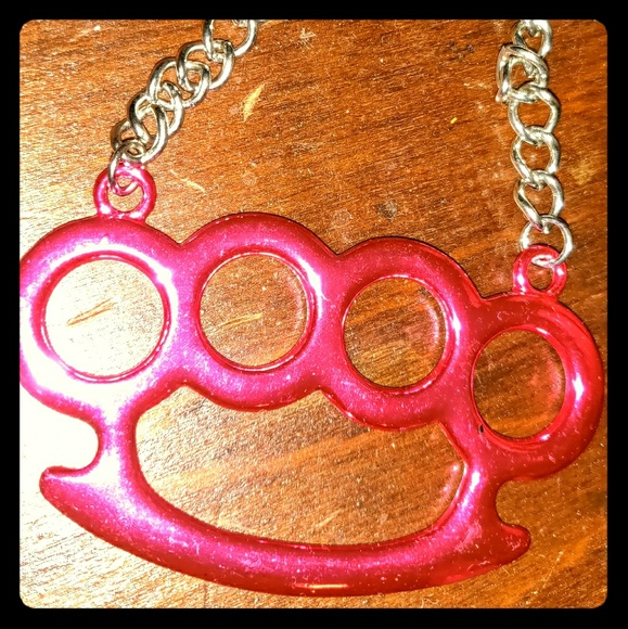 Metal Mafia Jewelry - NWT Metal Mafia pink brass knuckle necklace